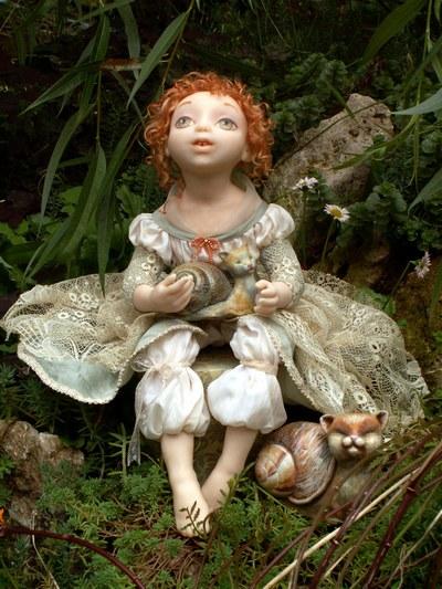 Авторская кукла Мечтательница с виноградной кошкой